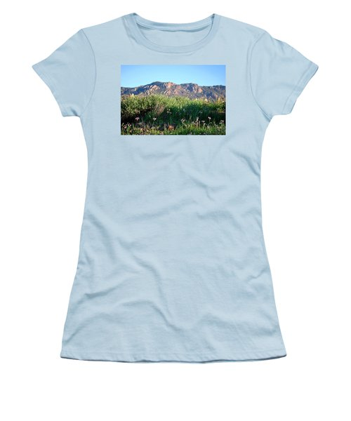 Women's T-Shirt (Athletic Fit) featuring the photograph Mountain Landscape View - Purple Flowers by Matt Harang