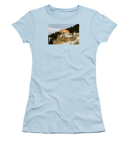 Mountain Lion On Rocks Women's T-Shirt (Athletic Fit)
