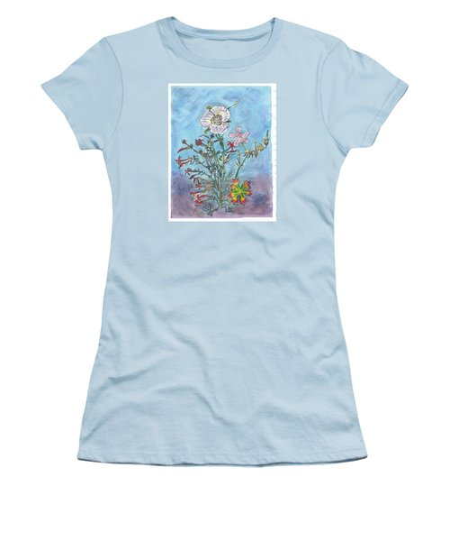 Women's T-Shirt (Junior Cut) featuring the painting Mountain Wildflowers II by Dawn Senior-Trask