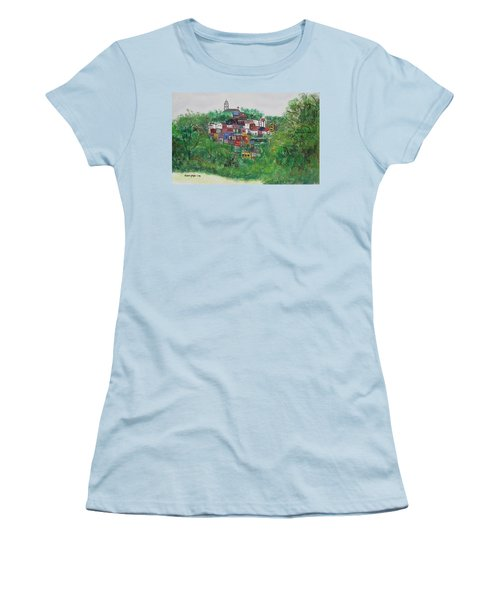 Women's T-Shirt (Junior Cut) featuring the painting Mt. Adams  Cincinnati Ohio by Diane Pape