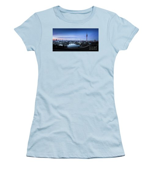 Women's T-Shirt (Junior Cut) featuring the photograph Munich - Watching The Sunset At The Olympiapark by Hannes Cmarits