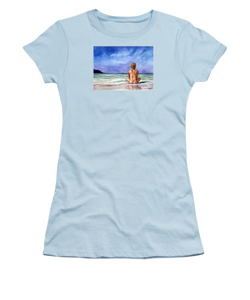 Naked Male Sleepy Ocean Women's T-Shirt (Athletic Fit)