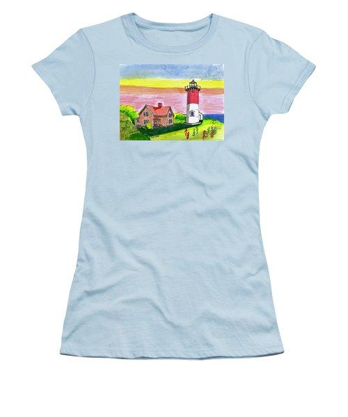 Nauset Point Lighthouse Women's T-Shirt (Junior Cut) by Paul Meinerth