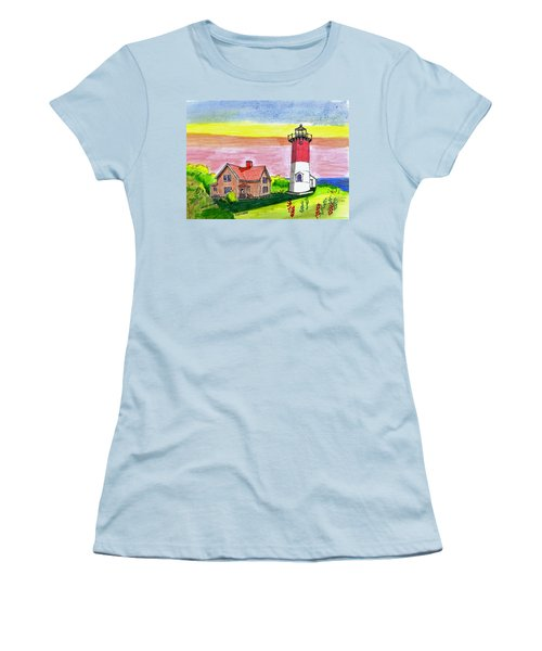Nauset Point Lighthouse Women's T-Shirt (Athletic Fit)