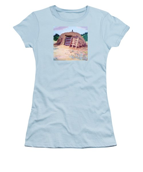 Women's T-Shirt (Junior Cut) featuring the painting Navajo Hogan by Suzanne McKay