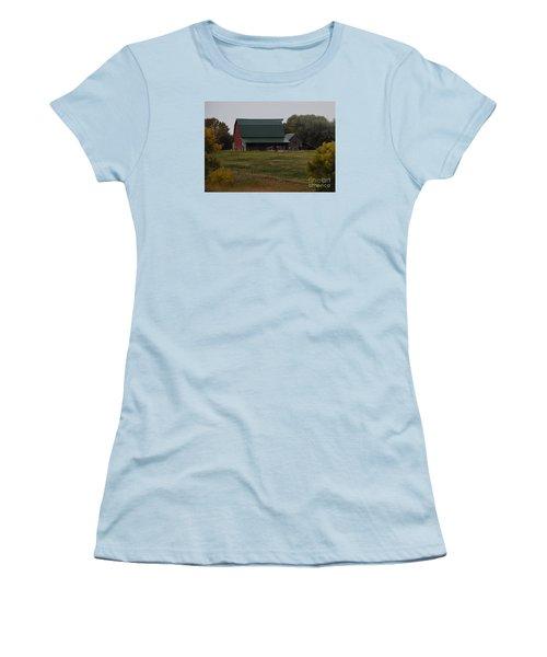 Women's T-Shirt (Junior Cut) featuring the photograph Nebraska Barn by Mark McReynolds