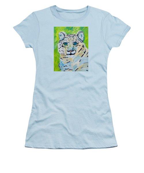 Eyes On You Snow Leopard Women's T-Shirt (Junior Cut) by Meryl Goudey
