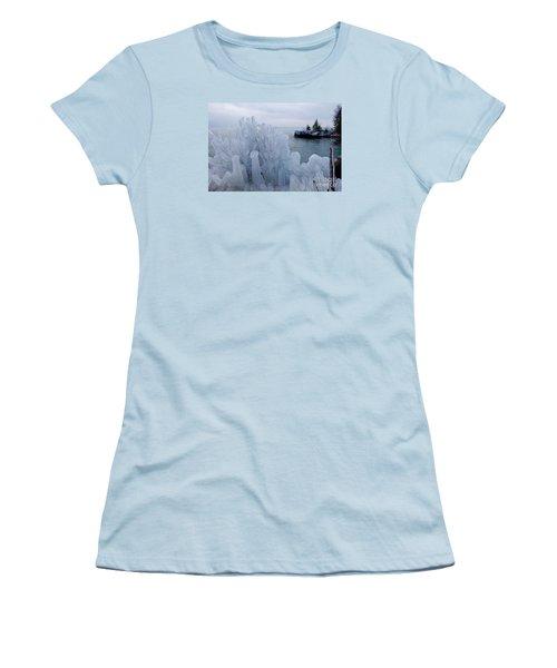 New Ice On Lake Superior Women's T-Shirt (Junior Cut) by Sandra Updyke