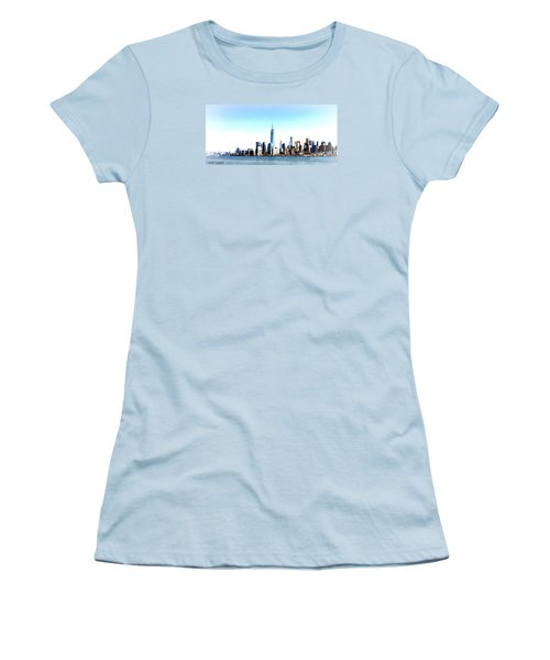 Women's T-Shirt (Junior Cut) featuring the painting New York City Skyline by Denise Tomasura