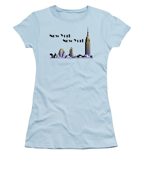 New York New York Skyline Retro 1930s Style Women's T-Shirt (Junior Cut) by Heidi De Leeuw