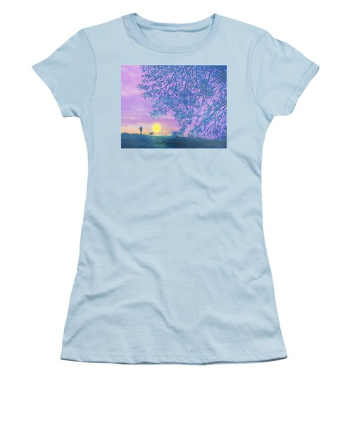 Women's T-Shirt (Junior Cut) featuring the painting Night Runner by Susan DeLain