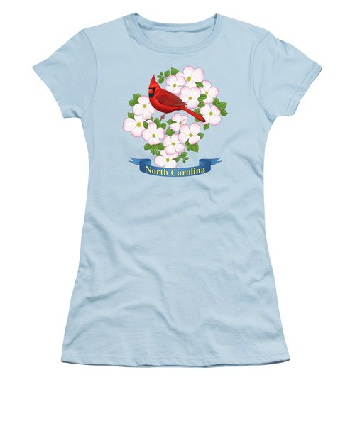 North Carolina State Bird And Flower Women's T-Shirt (Athletic Fit)