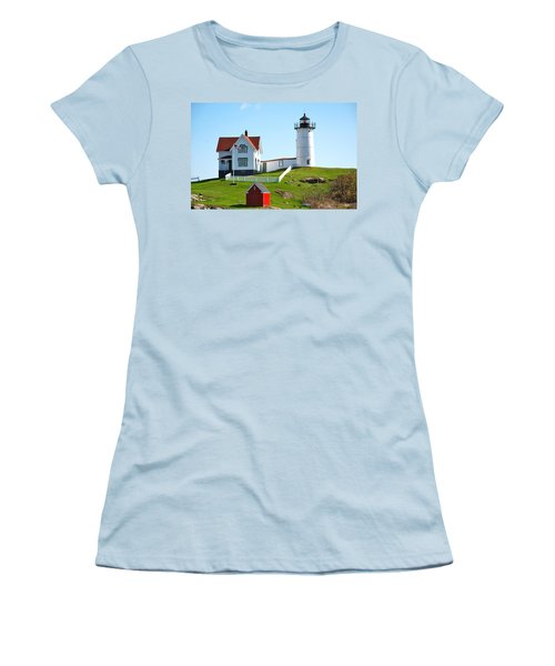 Nubble Lighthouse Women's T-Shirt (Junior Cut) by Eric Tressler