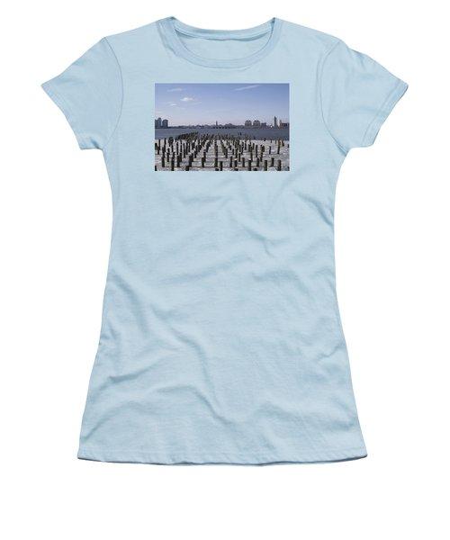 New York City Piers  Women's T-Shirt (Junior Cut) by Henri Irizarri