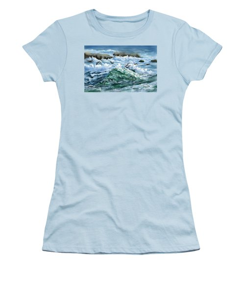 Women's T-Shirt (Junior Cut) featuring the painting Ocean Waves And Pelicans by Judy Filarecki