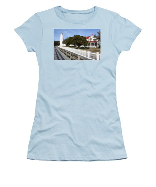Women's T-Shirt (Junior Cut) featuring the photograph Ocracoke Lighthouse by Tony Cooper