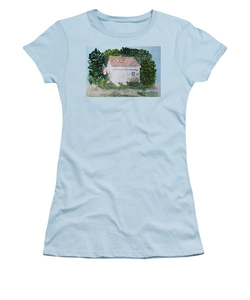Women's T-Shirt (Junior Cut) featuring the painting Old Barn In Eastham Ma by Donna Walsh