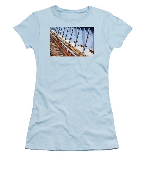 Women's T-Shirt (Athletic Fit) featuring the photograph Old Rusty Railway Bridge by Yali Shi