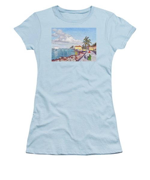 Old Yellow Gas Station By The Waterfront - Cooper's Town Women's T-Shirt (Athletic Fit)