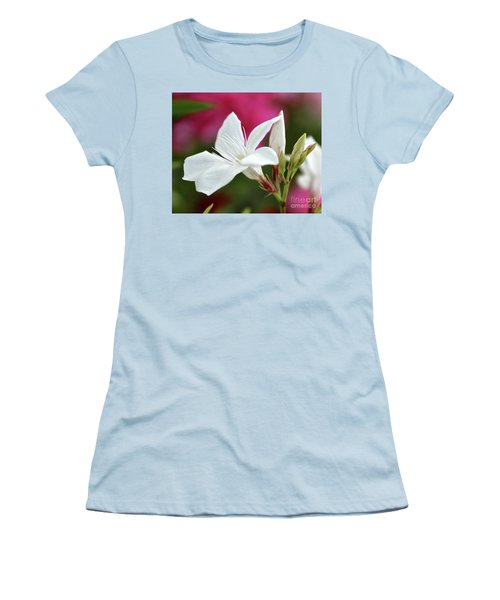 Women's T-Shirt (Junior Cut) featuring the photograph Oleander Casablanca 2 by Wilhelm Hufnagl