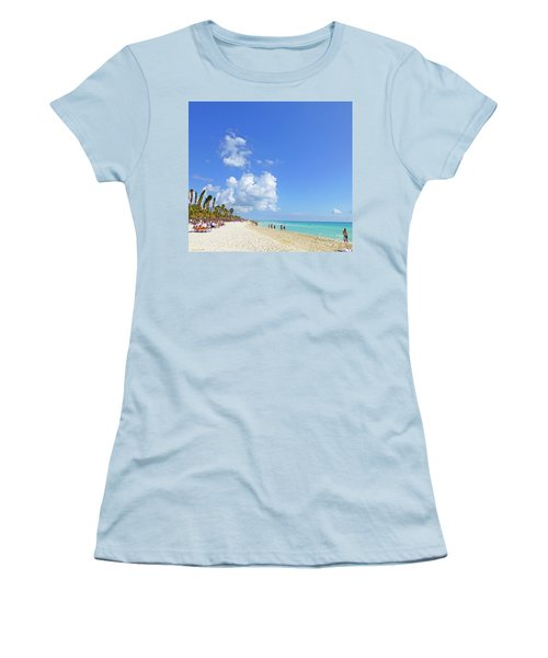 Women's T-Shirt (Athletic Fit) featuring the digital art On The Beach M1 by Francesca Mackenney