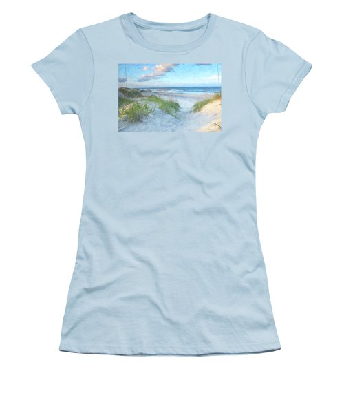 On The Beach Watercolor Women's T-Shirt (Junior Cut) by Randy Steele