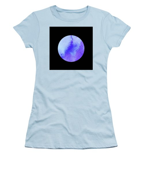 Women's T-Shirt (Athletic Fit) featuring the painting Once In A Blue Moon Watercolor by Irina Sztukowski