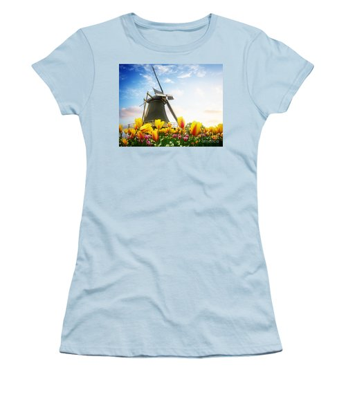 One Dutch Windmill Over  Tulips Women's T-Shirt (Athletic Fit)