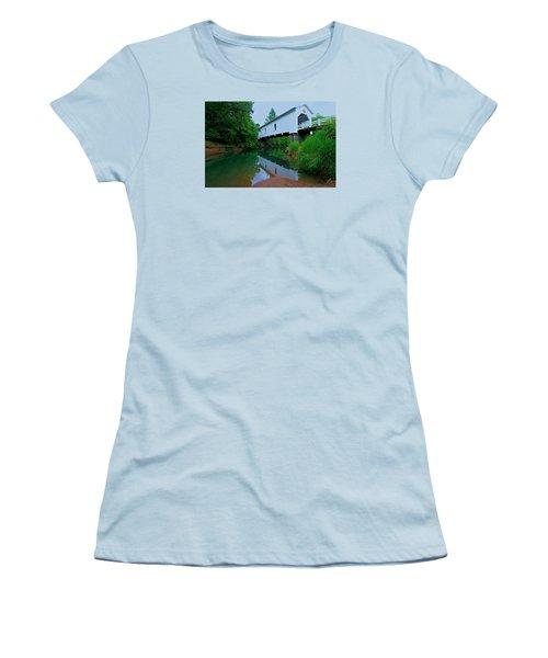 Oregon Covered Bridge Women's T-Shirt (Junior Cut) by Sean Sarsfield