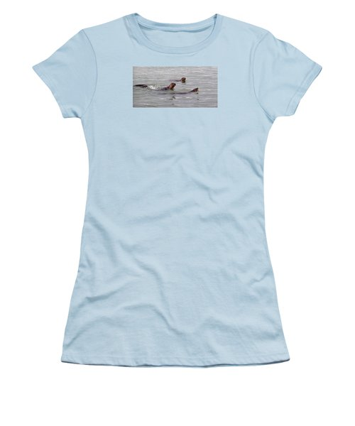 Otters Swimming Women's T-Shirt (Junior Cut) by Karen Molenaar Terrell
