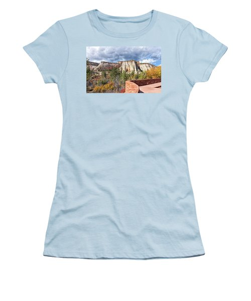 Women's T-Shirt (Junior Cut) featuring the photograph Overlook In Zion National Park Upper Plateau by John M Bailey