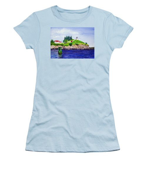 Owls Head Lighthouse Women's T-Shirt (Junior Cut) by Mike Robles