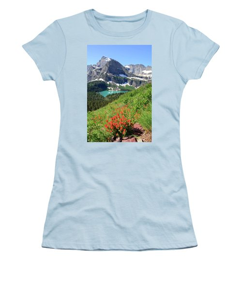 Paintbrush Above Grinnell Lake Women's T-Shirt (Athletic Fit)