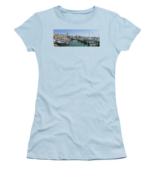 Women's T-Shirt (Junior Cut) featuring the photograph Panorama In Acre Harbor by Arik Baltinester