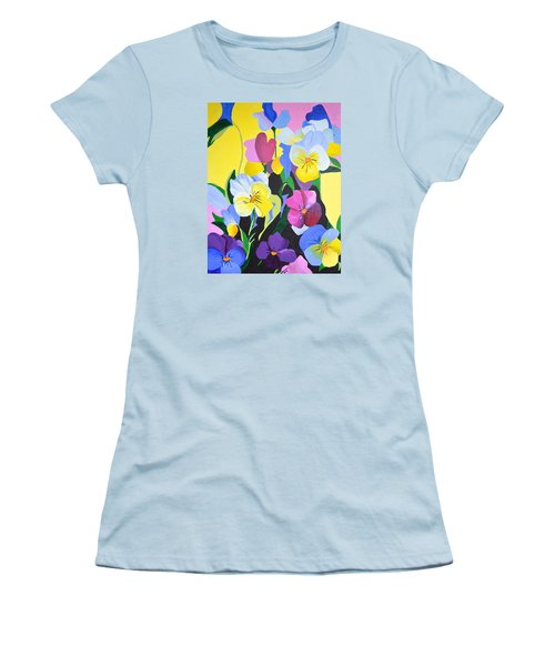 Women's T-Shirt (Junior Cut) featuring the painting Pansies by Donna Blossom
