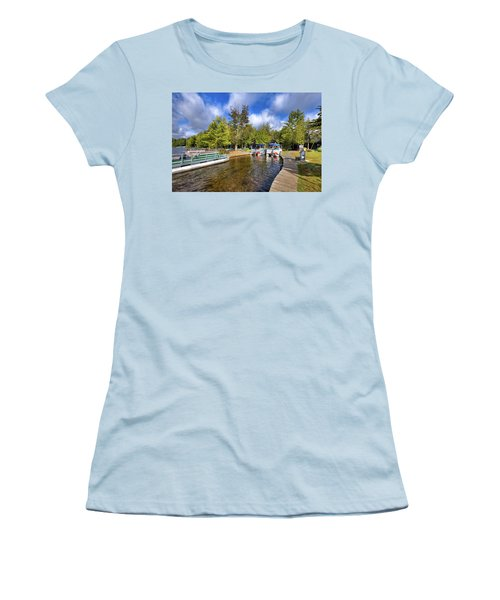 Women's T-Shirt (Athletic Fit) featuring the photograph Party Barges At Palmer Point by David Patterson