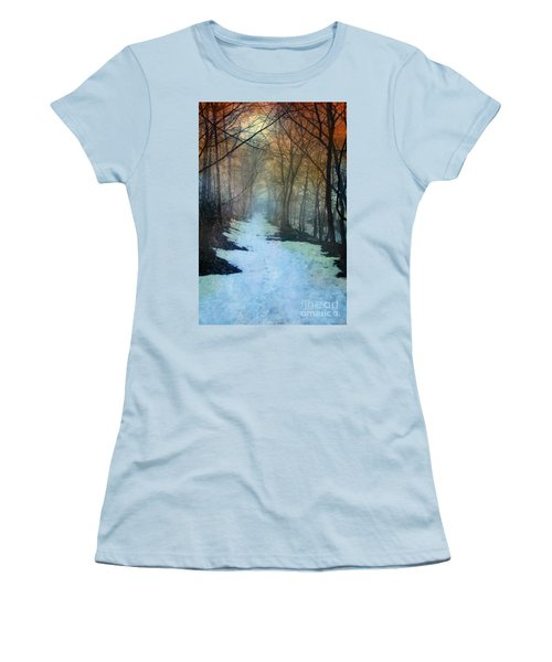 Path Through The Woods In Winter At Sunset Women's T-Shirt (Athletic Fit)