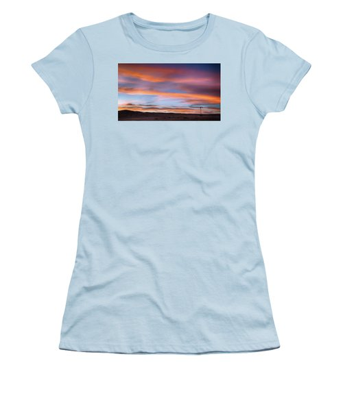 Women's T-Shirt (Athletic Fit) featuring the photograph Pawnee Sunset by Monte Stevens