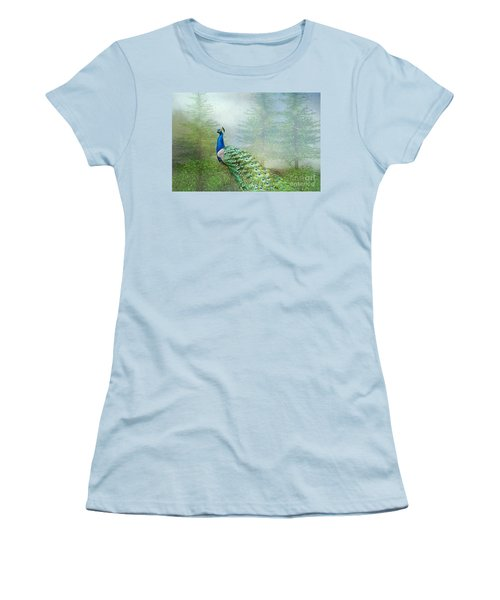 Peacock In The Forest Women's T-Shirt (Junior Cut) by Bonnie Barry
