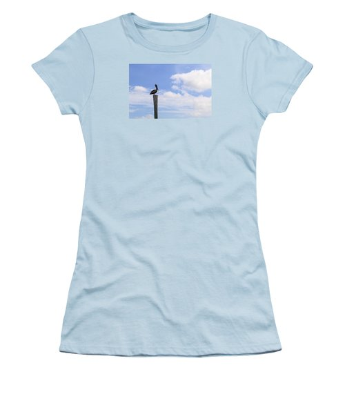 Pelican In The Clouds Women's T-Shirt (Junior Cut) by Christopher L Thomley