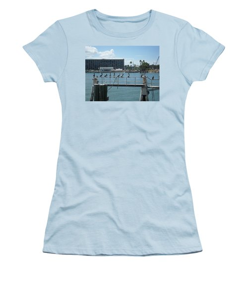 Pelicans In A Row Women's T-Shirt (Junior Cut) by Val Oconnor