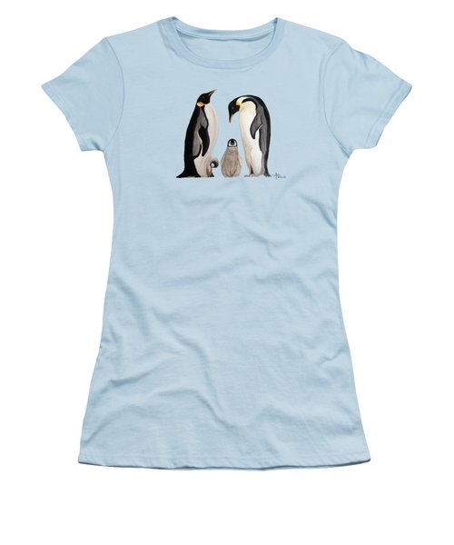 Penguin Family Watercolor Women's T-Shirt (Athletic Fit)