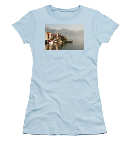Women's T-Shirt (Junior Cut) featuring the photograph Perast Restaurant by Phyllis Peterson