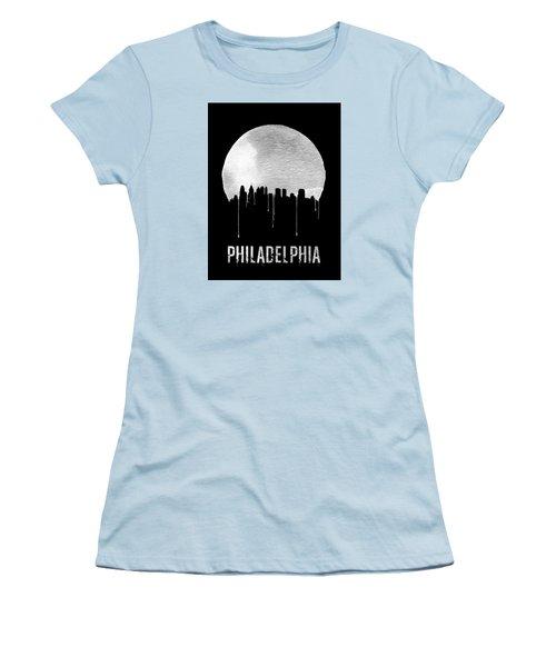 Philadelphia Skyline Black Women's T-Shirt (Junior Cut) by Naxart Studio