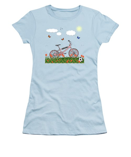 Pink Bicycle Women's T-Shirt (Athletic Fit)