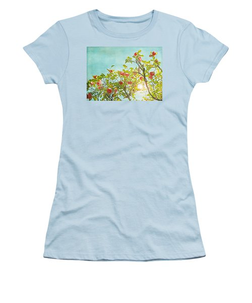 Pink Camellia Japonica Blossoms And Sun In Blue Sky Women's T-Shirt (Junior Cut) by Brooke T Ryan