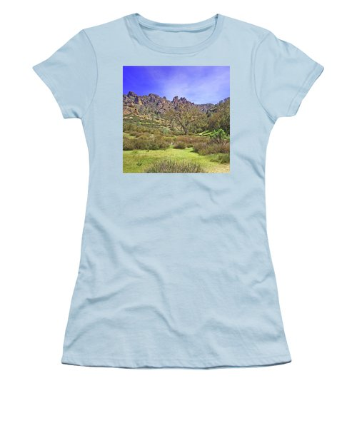 Women's T-Shirt (Junior Cut) featuring the photograph Pinnacles National Park Watercolor by Art Block Collections