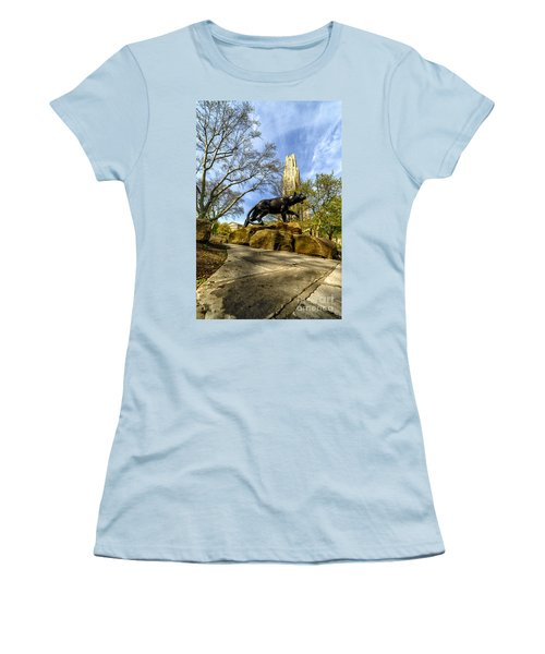 Pitt Panther Cathedral Of Learning Women's T-Shirt (Junior Cut) by Thomas R Fletcher