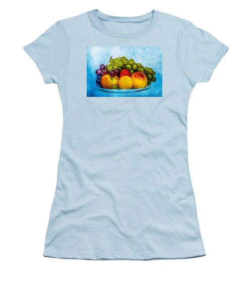 Women's T-Shirt (Junior Cut) featuring the photograph Plate Of Fresh Fruits by Alexander Senin