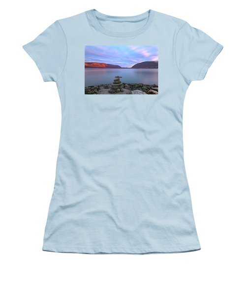 Plum  Point Rock Cairn At Sunset Women's T-Shirt (Junior Cut) by Angelo Marcialis